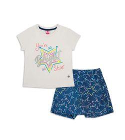 Conjunto-Camiseta-Y-Falda-Short-Crema-Azul-Bubblegummers-Estefi-Niña